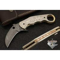 Custom Damascus Karambit Folding Knife w/ Brass Handle