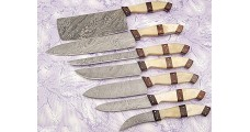 Damascus Kitchen Knife Set in Brown 7 PCs