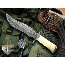 Damascus Custom Bowie Knife w/ Bone Handle