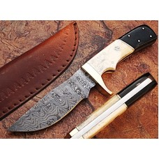 "Handmade 10"" Damascus Steel Hunting Knife w/ Sheath - GladiatorsGuild"