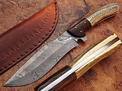 Custom Made Damascus Steel Hunting Knife w/ Sheath- GladiatorsGuild