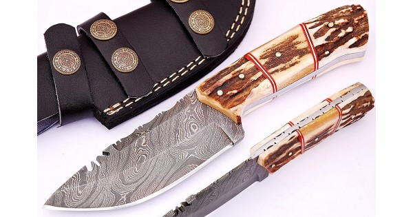 Damascus Steel Stag Handle Hunting Knife w/ Sheath- GladiatorsGuild