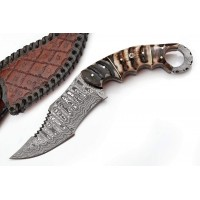 Damascus Hunting Kukri Knife w/ Ram Horn