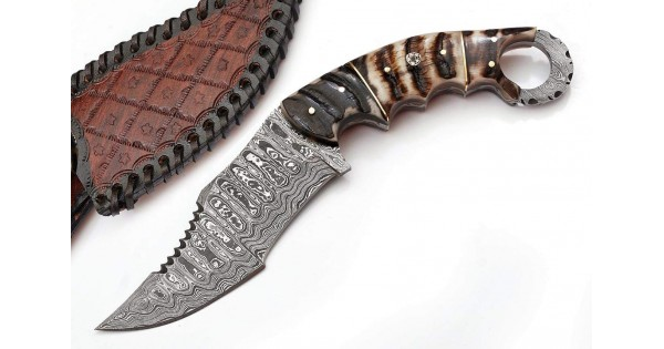 Damascus Hunting Knife w/ Horn & Bone Scale
