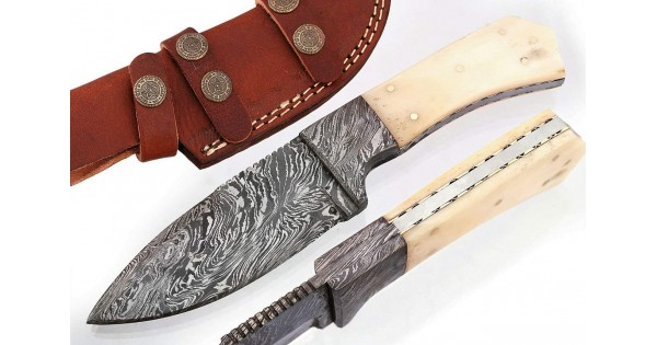 Handmade Small Damascus Steel Hunting Knife-Micarta - GladiatorsGuild