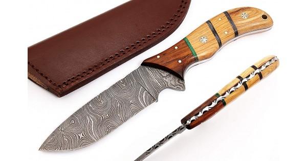 "Handmade Custom Damascus Steel 12"" Hunting Knife"