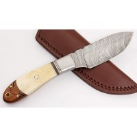 Damascus Steel Skinner Bone Handle Skinning Knife Sheath