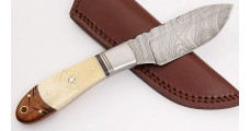 Damascus Steel Skinner Bone Handle Skinning Knife Sheath