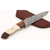 Damascus Steel Fixed Blade Bone Handle Hunting Knife with Sheath