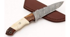 Damascus Steel Fixed Blade Bone Handle Hunting Knife with Sheath