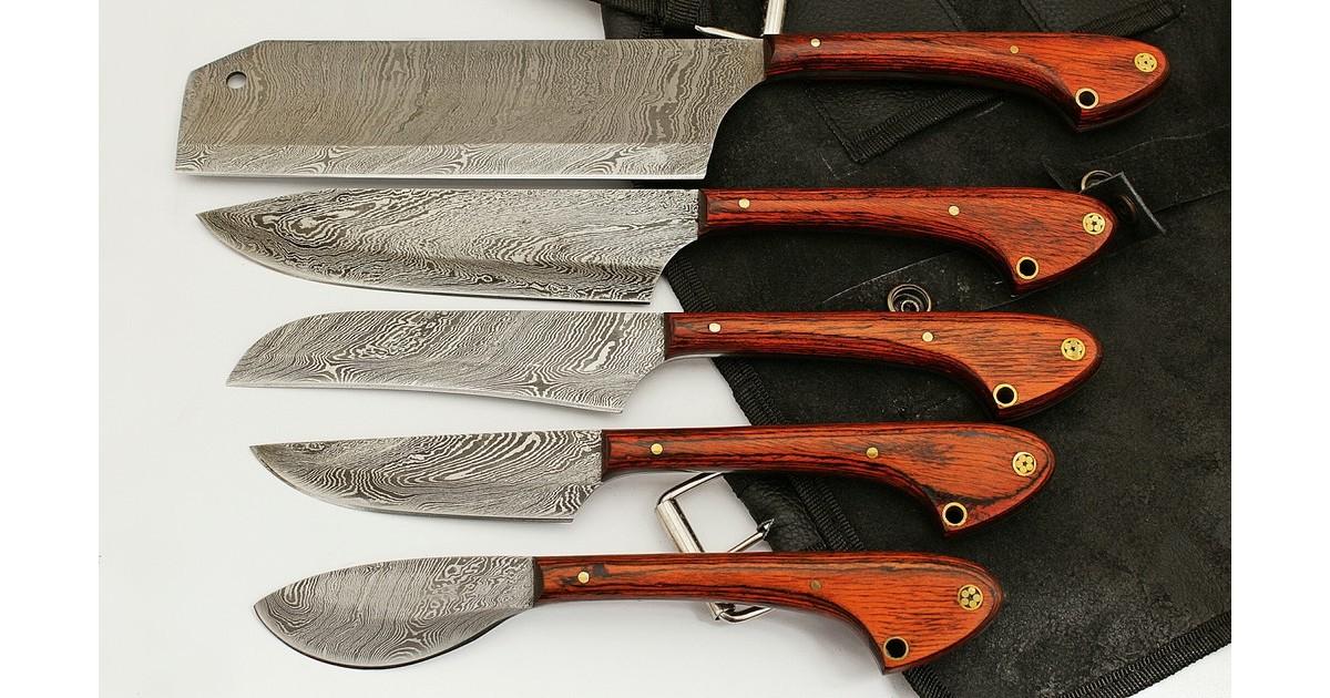 Custom Damascus 5 Pcs Chef Knife Set with Roll Case Bag ...  Custom Damascus...