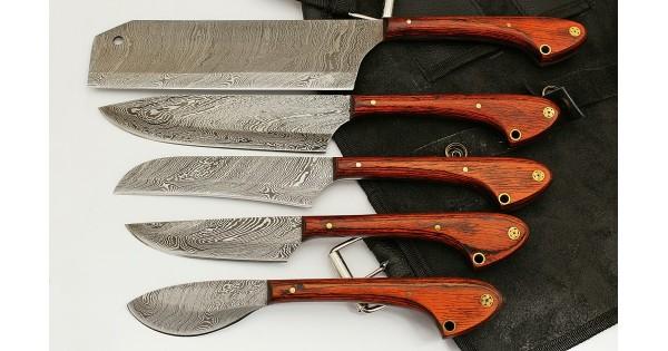 Custom Damascus 5 Pcs Chef Knife Set GladiatorsGuild GG-33