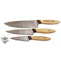 Damascus Steel Hand Forged 3 PCS Brown Kitchen Chef Knife Set GladiatorsGuild