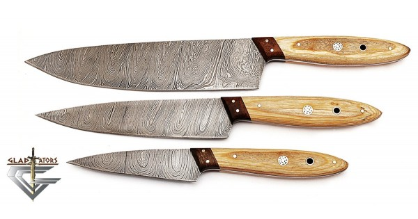 Damascus Steel Hand Forged 3 PCS Brown Kitchen Chef Knife Set GladiatorsGuild