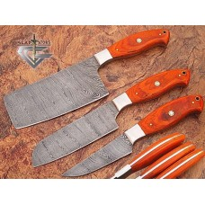 Custom Made Damascus Steel Chef Knife Set - Gladiators Guild - Wood Handle