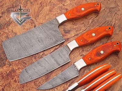 Custom Made Damascus Steel Chef Knife Set - Gladiators Guild - Wood Handle