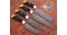 Custom Damascus Steel 4 Pcs Kitchen Knife Set GladiatorsGuild GG-50