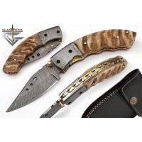 Damascus Folding Pocket Knife Ram Handle 79
