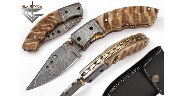 Damascus Folding Pocket Knife Ram Handle 79