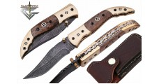 Custom Damascus Steel Folding Pocket Knife 14
