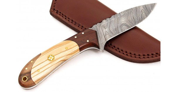 Damascus Steel Hunting Knife with Sheath