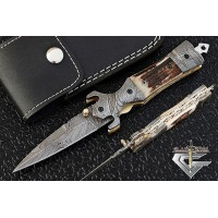 Cool Damascus Steel Folding Pocket Knife 5511S