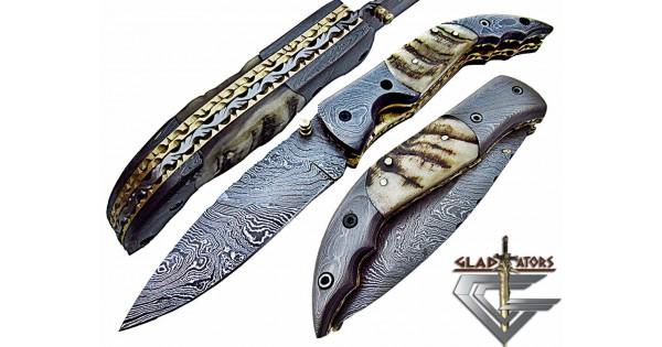 Damascus Folding Hunting Knife by Gladiators (Custom-Handmade) Ram Horn Handle