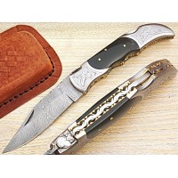 Custom Damascus Pocket Knife w/ Horn Scale P-62