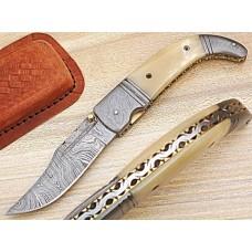 Custom Damascus Pocket Knife With Bone & Damascus Bolster