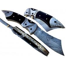 Damascus Folding Pocket Knife with Sheath w/ Buffalo Horn