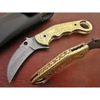 Custom Damascus Karambit Folding Knife w/ Brass Handle