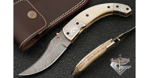 Engraved Damascus Folding Pocket Knife With Bone