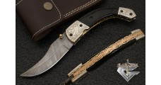 Engraved Custom Survival Pocket knife Damascus Folding Pocket Knife with Sheath 6012
